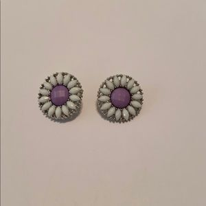 Purple and white flower earrings